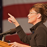 Republican party rally for Sarah Palin at the Fairbanks International Airport upon her return to Alaska after being named John McCain's Vice President running mate, September 10, 2008