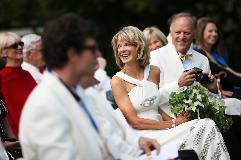 Nancy Coffey smiles before she and F. Timothy Nagler (not pictured) are married at Duckridge Farm in Portland, Ore., Saturday, June 2, 2012...The bride, 66, is a Senior Vice President with The Corcoran Group in New York.  She graduated from Stanford and received a M.S. in Engineering from Stanford. She is a daughter of Joan Moore of Montecito, Ca., and the late Arthur J. Coffey, a custom home builder and developer in Palm Springs, Ca., where she grew up...The bridegroom, 65, is the president and owner of Jungclaus-Campbell Co., Inc., an Indianapolis industrial general contractor founded in 1875.  He graduated from Carleton College and received a M.A. in English from the University of Virginia.He is the son of Ruth E. and Louis G. Nagler of Amery, Wisconsin.  His father was a lawyer, his mother a homemaker.
