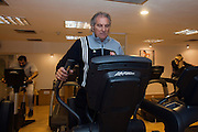 Manuel Jose, the Portuguese Coach of the Egyptian football team Al-Ahly works out in the gym of a local hotel that serves as his home February 17, 2012  in Cairo, Egypt. Jose returned to Egypt Feb 16 after a 2 week break to resume his job of coach of Al-Ahly in the wake of post-football match violence February 2nd, 2012 that killed 74 and injured hundreds more in the Port Said, Egypt stadium.  (Photo by Scott Nelson)