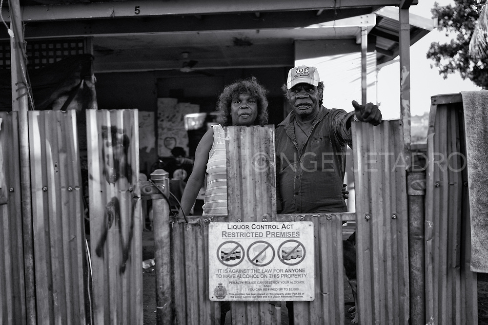 Lynette and John where living temporally in the Mallingbarr (Kennedy Hill) community. Recently they returned to their own community in Mudawaloop (outside of Halls Creek), now they are very concerned about the future of their community as the West Australian Government has the plan to close up to 150 Aboriginal communities in the state. Broome, Western Australia.