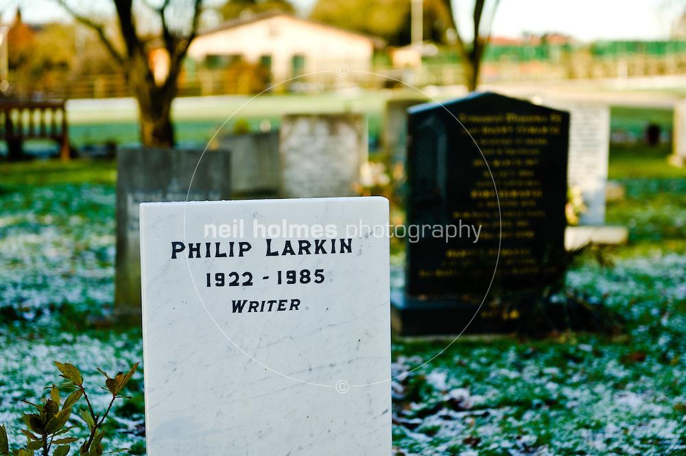 The poet Philip Larkin's grave at Cottingham Municipal Cemetery, Eppleworth Road.