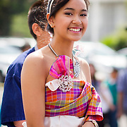 Young Thai performer marches on Hollywood Blvd in the Songkran Thai New Year parade