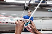 Lyon, Atelier Hermès, silk atelier at Pierre-Benite, 150 metri di seta in fase do stampa. 150 meters of silk ready for all the prints process