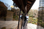Hugh Montgomery (on right) of The Independent talks with Kaoru Yamamoto (centre, chef at SO Restaurant London) in the gardens of Kanga-an temple, a restaurant serving Shojin-ryori cuisine (eaten mainly by Buddhist followers), in Kyoto, Japan, on Friday 13th January 2012.