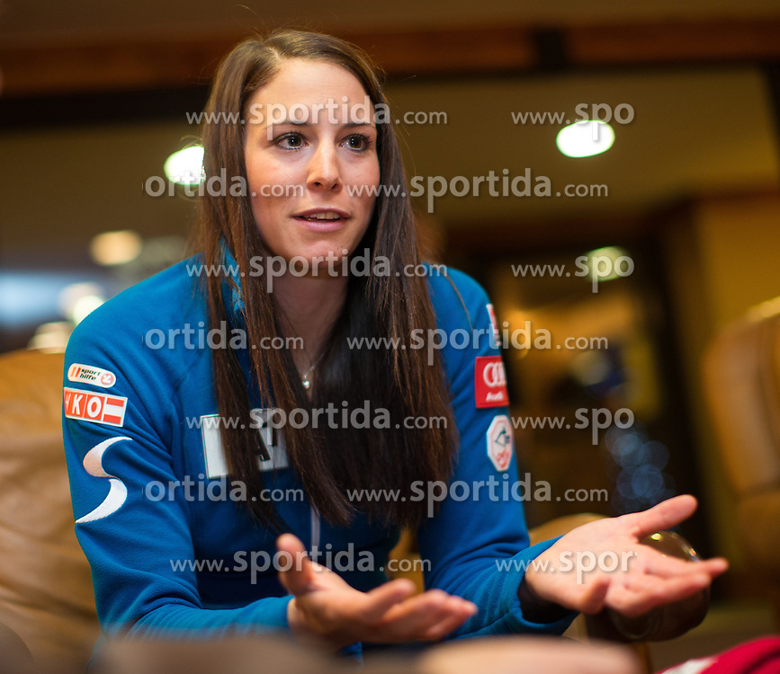 27.11.2013, Hotel Charter, Beaver Creek, USA, FIS Ski Weltcup, Beaver Creek, Pressegespraech OeSV Damenteam, im Bild Mirjam Puchner (AUT) // Mirjam Puchner of Austria during the press conference of Austrian ladies Ski Team of the Beaver Creek ladies FIS Ski Alpine World Cup at the Charter Hotel in Beaver Creek, United States on 2012/11/27. EXPA Pictures © 2013, PhotoCredit: EXPA/ Johann Groder