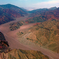 A wadi in the Sinai, Egypt. Aerial view