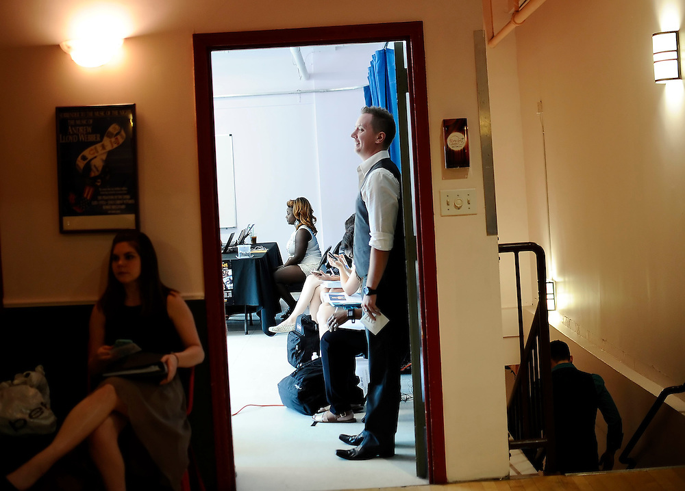 Nekita Waller speaks with a casting director at an audition in New York.