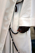 Close up of an Ethiopian priest in a monastery, April 2004, his hand holding the rosary