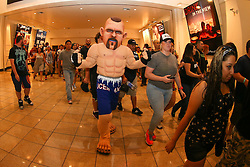 Las Vegas, Nevada, USA - July 4, 2014: A Chuck Liddell mascot enters the UFC 175 weigh-in's with other fans at the Mandalay Bay Events Center in Las Vegas, Nevada.  Ed Mulholland for ESPN