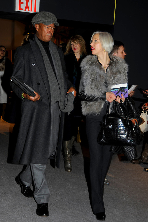 Michael Roberts of Vanity Fair in layers of gray and Linda Fargo in a fur vest and red lipstick at the Fall Winter 2010 Diane von Furstenberg show.