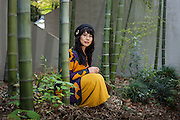 Haruna Terahori, accordion repairer and martial artist, in the inner garden of Shisheikan, martial arts hall of Meijijingou shrine in Tokyo.
