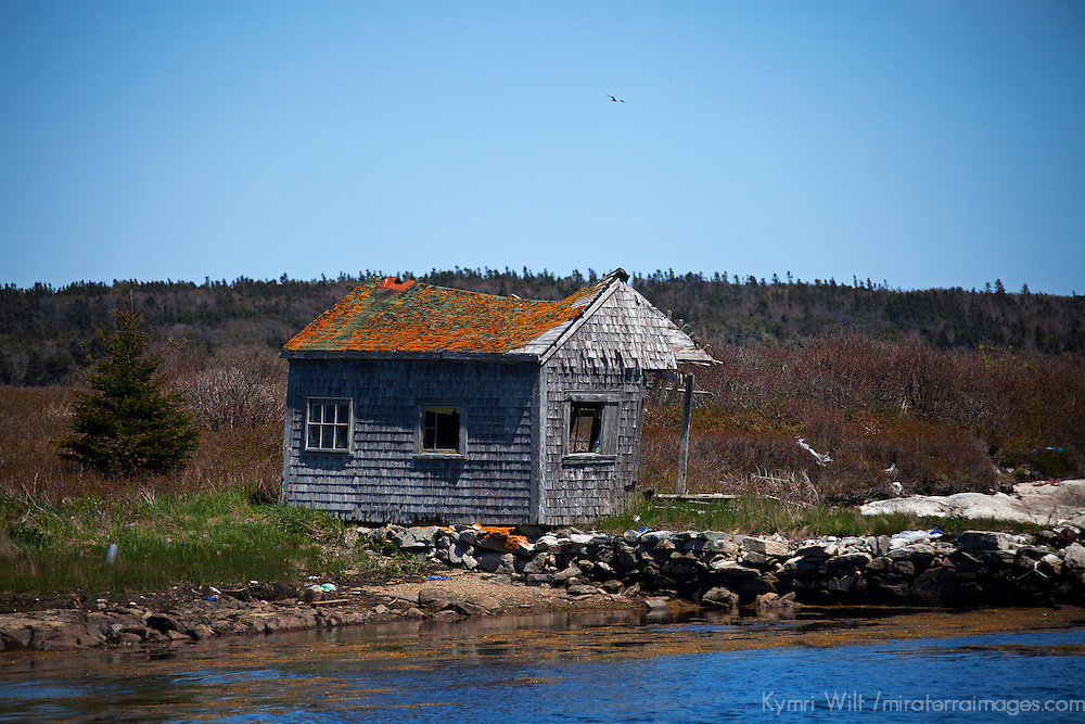 North America, Canada, Nova Scotia, Canso.  Weathered boathouse of Canso on  Chedabucto Bay.