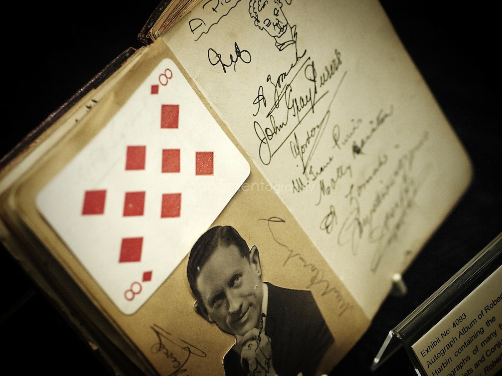 An autograph album o display at the magic circle museum.