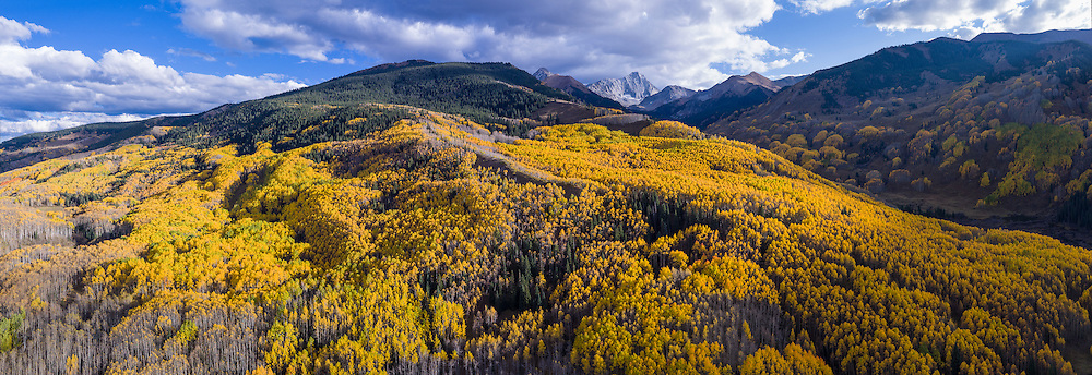 Aerial panorama , fall colors in Aspen, Colorado. Shot with DJI Inspire 1 Pro (preproduction), Zenmuse X5 camera, and DJI 15mm lens. 5-shot pano, stitched in Autopano Giga.