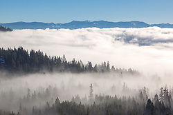 """Fog Over Truckee 2"" - Photograph of low lying fog over Truckee, California and Donner Lake."