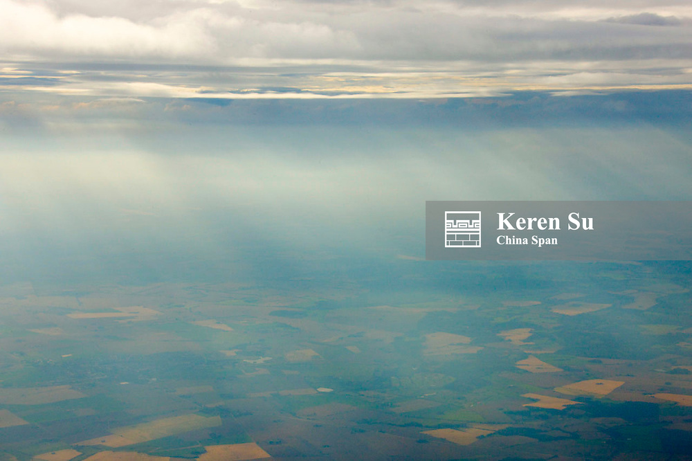 Aerial view of light breaking through the clouds,  Finland