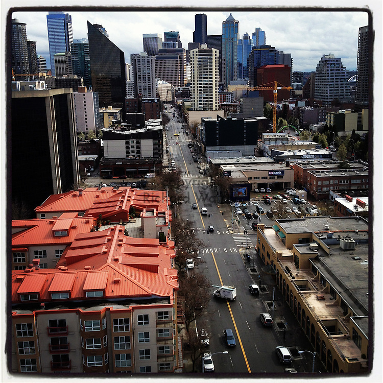 2012 MARCH 30 - View of Belltown and downtown Seattle, WA, USA, from a building rooftop. Taken with Apple iPhone using Instagram App. By Richard Walker