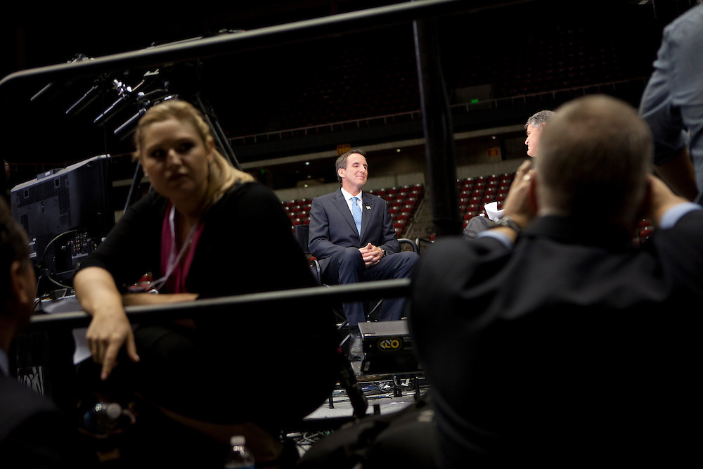 Republican presidential hopeful Tim Pawlenty is interviewed on television following the Republican presidential debate on Thursday, August 11, 2011 in Ames, IA.