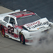 Brad Keselowski Ruby Tuesday car sits on the Track in smoke after eight car wreck on the last lap of the NASCAR Nationwide Series race Saturday, May 14, 2011 at Dover International Speedway in Dover Delaware.<br /> <br /> Special to The News Journal/SAQUAN STIMPSON