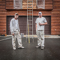 """""""We are just doing a small portion of the house as a test. We will finish up the job next summer.""""  -Painting contractor, Jeremy Cohen (right) with Ernie King as they prepare to work on a neighbor's home in South Addition, Anchorage"""
