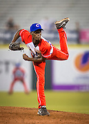 SAN JUAN, PUERTO RICO FEBRUARY 8:  Reliever for Cuba, Livan Moinelo, pitches during the final championship game against Mexico on February 8, 2015 in San Juan, Puerto Rico at Hiram Bithorn Stadium(Photo by Jean Fruth)