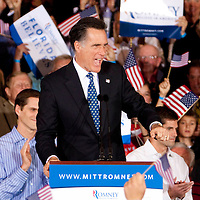 TAMPA, FL -- Republican presidential candidate former Gov. Mitt Romney speaks to supporters during his Election Night party on decision day during his victory in the Florida Primary on Tuesday, January 31, 2012. (Chip Litherland for The New York Times)
