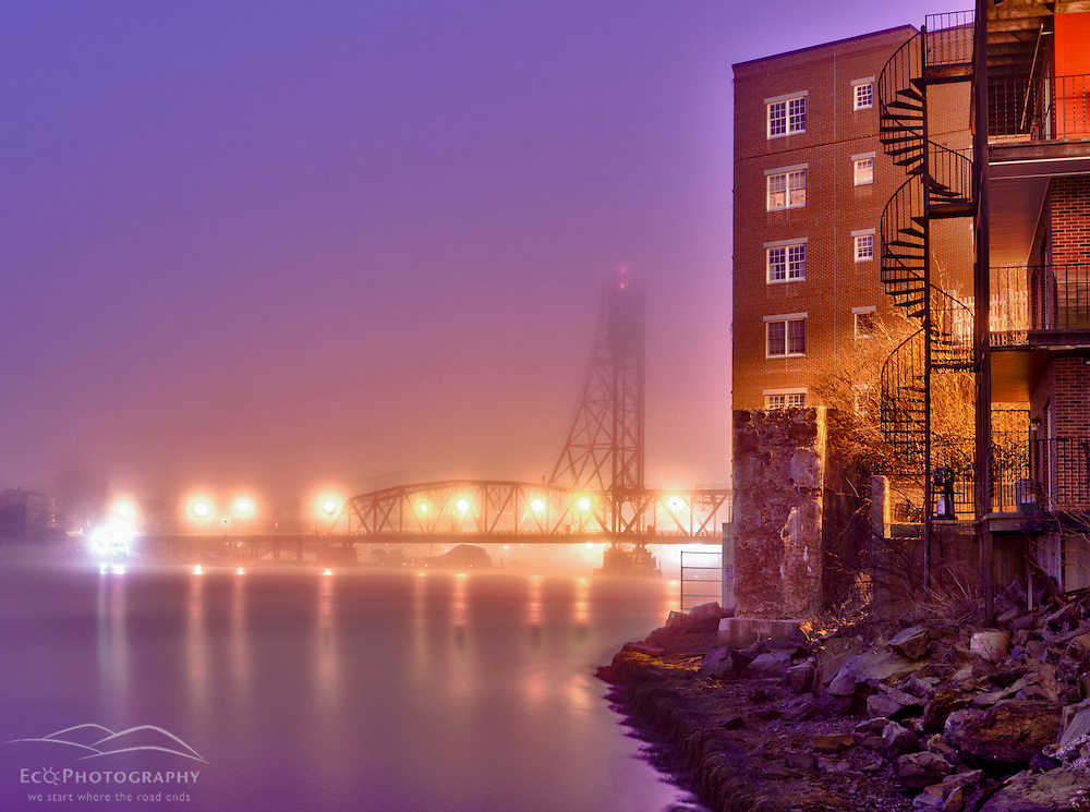 The Memorial Bridge in the fog, Portsmouth, New Hampshire. HDR.