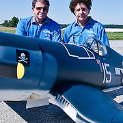 08/22/11 Toughkenamon PA: Brother's Dave and Peter Malchione pose with their scale model F4U Corsair at New Garden Airport Monday, Aug. 22, 2011 in Toughkenamon Pennsylvania...Monsterphoto/SAQUAN STIMPSON