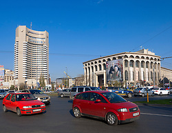 View of Intercontinental Hotel and National Theatre in  Piata Universitatii or University Place in Bucharest Romania