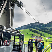 A cable car from Brülisau reaches Hoher Kasten mountain in the Alpstein limestone range, Appenzell Alps, overlooking the Rhine in Eastern Switzerland, Europe. Hoher Kasten (1795 m) is on the border between the cantons of Appenzell Innerrhoden and St. Gallen. A revolving restaurant is on the top. Appenzell Innerrhoden is Switzerland's most traditional and smallest-population canton (second smallest by area).