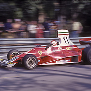 Swiss driver Clay Regazzoni handles his Ferrari during the training sessions of the 1975 Spanish Grand Prix