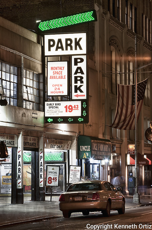 A parking garage by the theater district in Times Square in New York City.