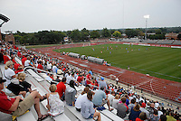 Fans watch as Ohio State takes on the University of North Carolina in the first half of an NCAA women's college soccer game in Columbus, Ohio on Sunday, Sept. 4, 2011, at Jesse Owens Memorial Stadium.