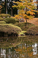 Rinnoji Temple's Shoyo-en Garden in Nikko. The garden was made in the early Edo period originally but revised in the beginning of the 19th century. A Confucian scholar, Issai Sato gave the garden its name. The temple's main building, which enshrines successive members of the Imperial family.