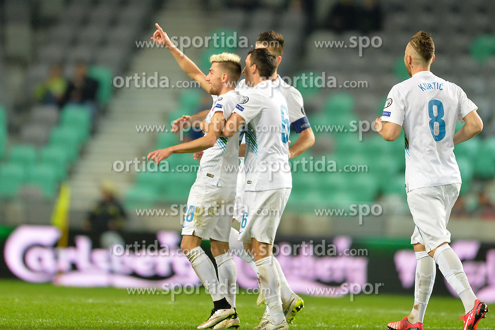 Kampl Kevin of Slovenia celebrate after second goal of Slovenia during football match between NationalTeams of Slovenia and San Marino in Round 5 of EURO 2016 Qualifications, on March 27, 2015 in SRC Stozice, Ljubljana, Slovenia. Photo by Mario Horvat / Sportida