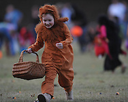 Caroline Brownlee runs for candy filled plastic eggs at the Oxford Park Commission's Halloween Egg Hunt at Avent Park in Oxford, Miss. on Wednesday, October 27, 2010.