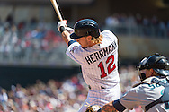 Chris Herrmann #12 of the Minnesota Twins bats against the Seattle Mariners on June 2, 2013 at Target Field in Minneapolis, Minnesota.  The Twins defeated the Mariners 10 to 0.  Photo: Ben Krause