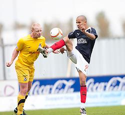 Ayr United's Chris Smith and Falkirk's Farid El Alagui..Half time, Falkirk 1 v 0 Ayr United, 5/5/2012..©Michael Schofield..