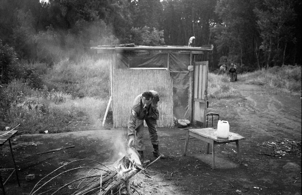 A member of the Croatian Army tends to an outpost in Osijek, Croatia.