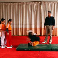 Asia, China, Shanghai. A boys gymnastics class at The Children's Palace, where Chinese youth study the traditional and cultural arts.