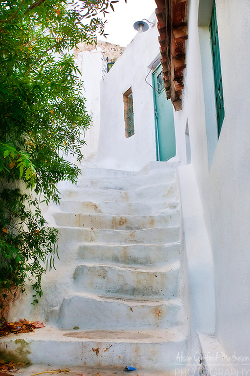 Stairs lead through pedestrian streets in Athens, Greece
