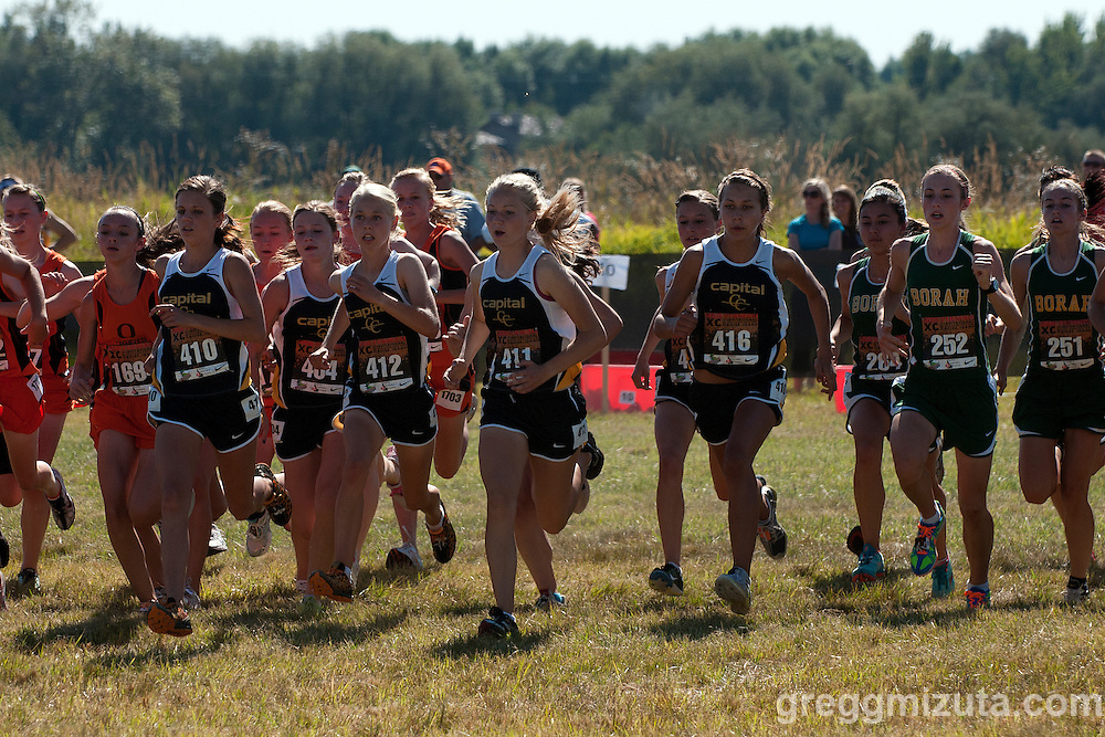 Capital (L to R: Savana Schilling, Theresa Konecni, Sydney Taylor, Julia Taylor, Lena Zugnoni) and Borah (Mackenzie Carruthers and Sofia Broadbent) at the start of the Bob Firman Invitational D1 race on September 24, 2011 at Eagle Island State Park.