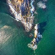 An aerial drone view of Bonnet Point, Narragansett, Rhode Island.