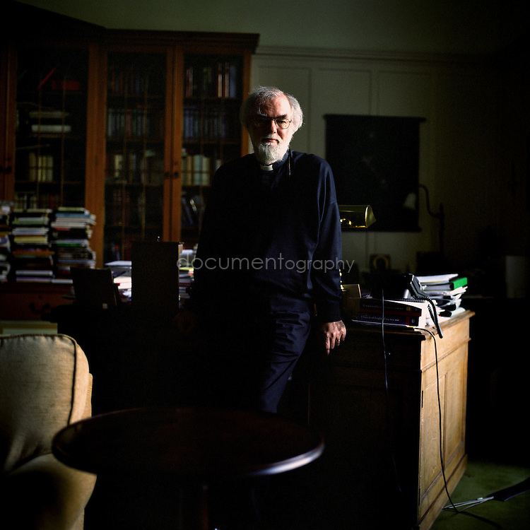 Rowan Williams, Archbishop of Canterbury in his study at Lambeth Palace, London.