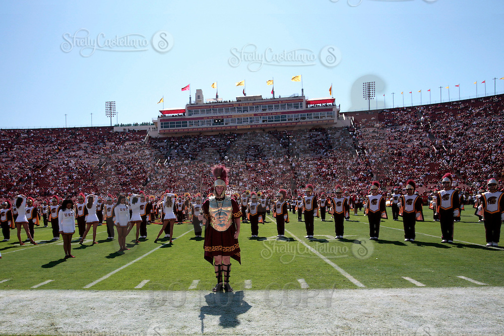 11 October 2008: NCAA Pac-10 USC Trojans 28-0 shut-out win over the Arizona State University Sun Devils during a day college football game at the Los Angeles Memorial Coliseum in Southern California.  Overview of the marching band facing the pressbox on the field.