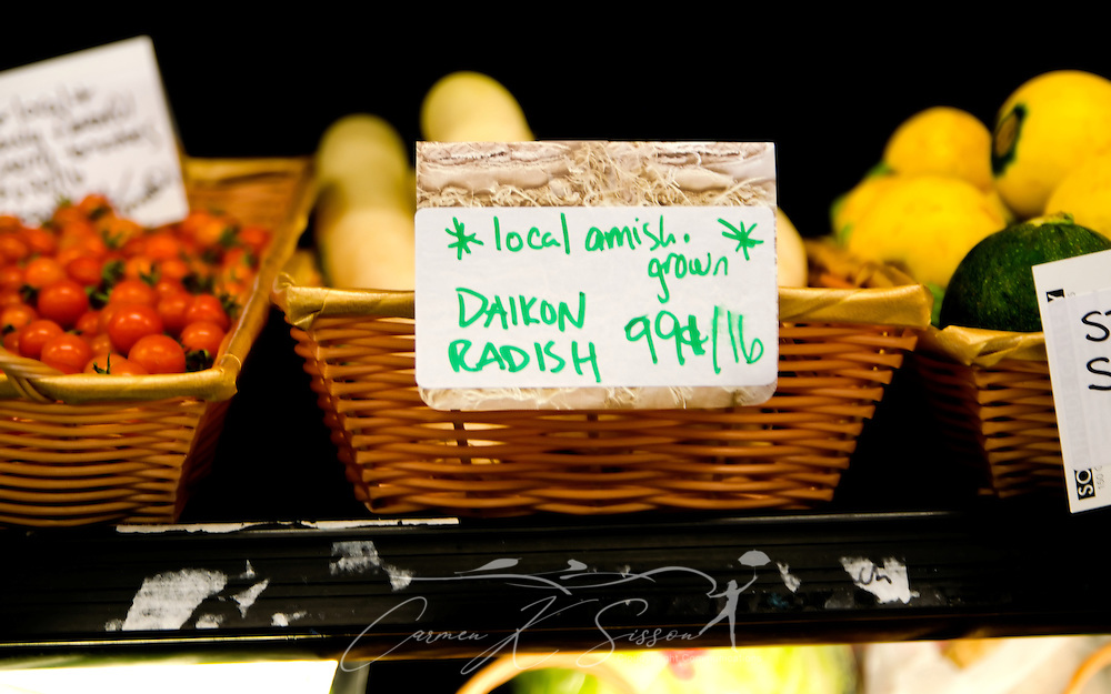 Daikon radish, grown locally by Amish farmers, is one of the items sold at B.T.C. Old-Fashioned Grocery in Water Valley, Mississippi. (Photo by Carmen K. Sisson/Cloudybright)