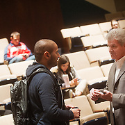 Jack Jones, VP and general manager of Boeing South Carolina, chats with a student after his speech. (Gonzaga University Photo)
