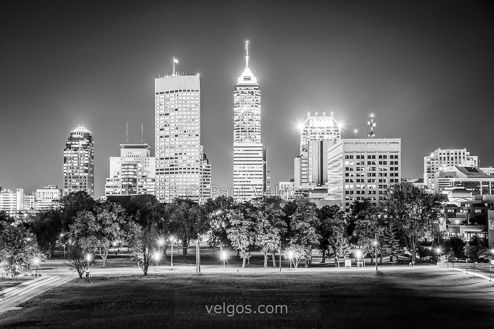 Night Black And White Picture With Indianapolis City Office Buildings