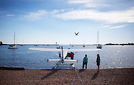 A float plane in Grand Marais Harbor and Lake Superior in Grand Marais, Minnesota,  one of the gateways to the Boundary Waters Canoe Area Wilderness in the Superior National Forest in Northern Minnesota.