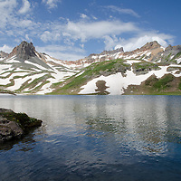 Ice Lakes Basin, reflection of Vermillion and Pilot Knob peaks